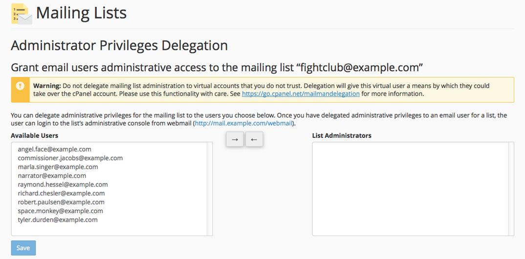 delegate a mailing list